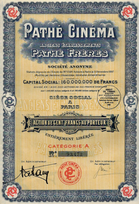 Pathe-Cinema_action-au-porteur_100-francs